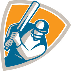 Cricket Player Batsman Batting Shield Retro