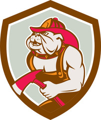 Bulldog Fireman With Axe Shield Retro