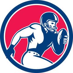 American Football Player Running Circle Retro