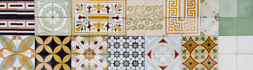 Collection of 9 ceramic tiles