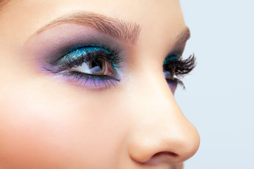 Female eye zone makeup
