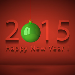 Happy New Year 2015 with hanging bauble, eps 10