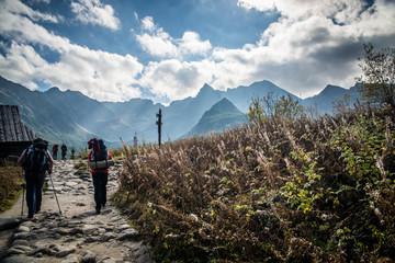 Tourist in tatra mountains - Hala Gasienicowa