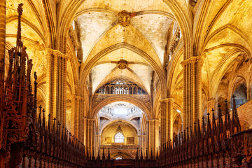 Inside Cathedral. Cathedral of the Holy Cross and Saint Eulalia.
