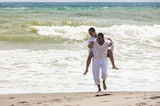 African American Father Son Family on Beach