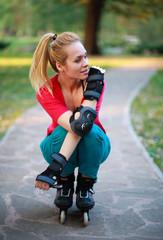 Roller sporty girl in park, woman outdoor fitness activities