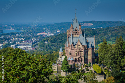 Leinwandbild Motiv Schloss Drachenburg mit Bonn