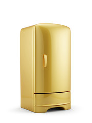 Golden refrigerator isolated