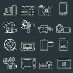 Photo video icons set outline