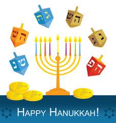 Hanukkah menorah, dreidels and coins