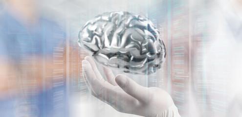 doctor neurologist hand show metal brain with computer interface
