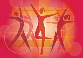 Fitness dancing icons background