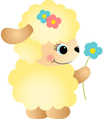 Cute Sheep with Flower