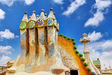 BARCELONA, SPAIN - SEPT  04, 2014: Roof, housetop  Gaudi's  crea
