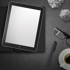 3d empty tablet and a cup of coffee with note pad on the stone d