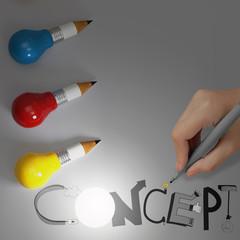 pencil lightbulb 3d and design word CONCEPT as concept