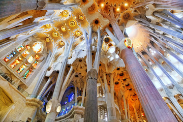 BARCELONA, SPAIN - SEPTEMBER 04: Sagrada Familia,beautiful and m