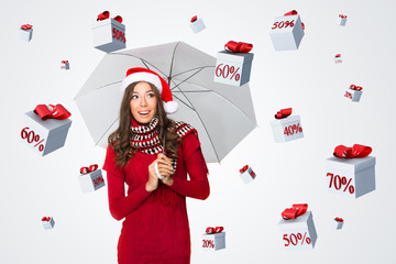 Discount presents falling on a woman with an umbrella