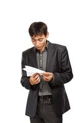Businessman whit paper planes