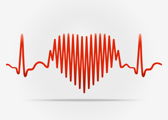 Red heart with the transition to ECG with shadow. Vector illustr
