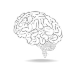Thoughts brain vector illustration with shadow for your work