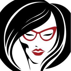 Vector portrait of woman in red glasses