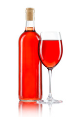 Glass and bottle of rose wine isolated on white