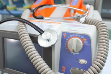 Defibrillator and stethoscope