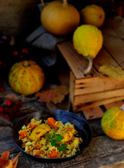 rice curry with fried fish and pumpkin