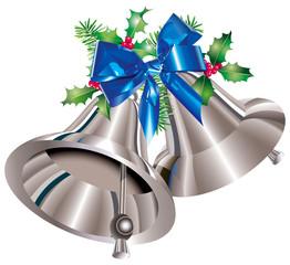 Clochettes de Noël argentées, houx, sapin, nœud de bolduc bleu