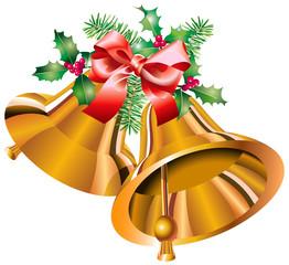 Clochettes de Noël dorées, houx, sapin, nœud de satin rouge