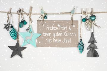 Weihnachtskarte mit Text und Dekoration in mintgrün