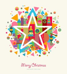 Merry Christmas abstract colorful retro star