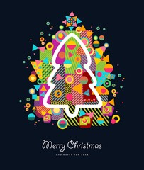 Christmas tree colorful retro greeting card