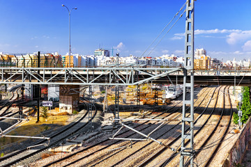 The big Railways Stations of Valencia with trains.Spain. Catalon