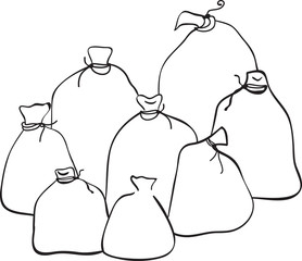 Outline group of sacks