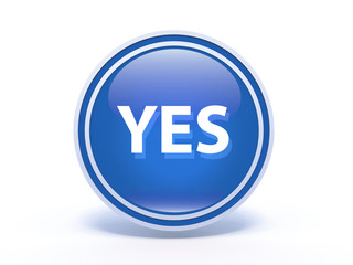 yes circular icon on white background
