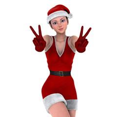 サンタクロースコスチュームの若い女性