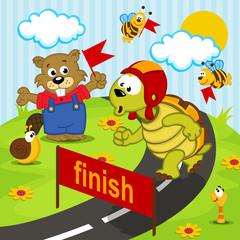 turtle athlete runs - vector  illustration, eps