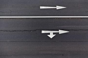 Verkehrszeichen - Richtungspfeile von Oben