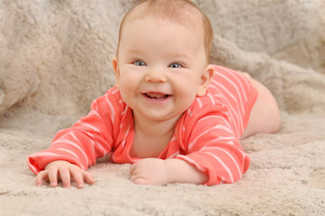 smile broadly cute happy little girl