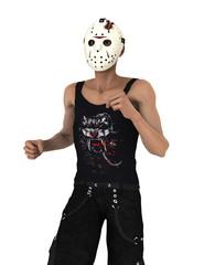 ホッケーマスクの男性