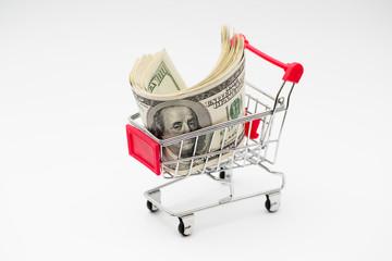 Dollars in trolley
