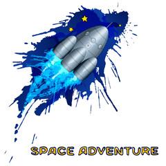Space rocket with grunge splashes