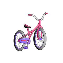 Cartoon children's bike isolated