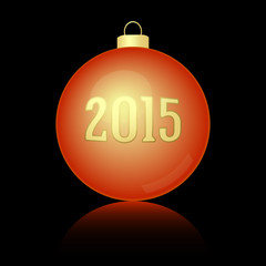 Golden red Christmas and New Year ball 2015