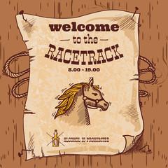Racetrack retro poster