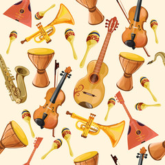 Music instruments seamless pattern