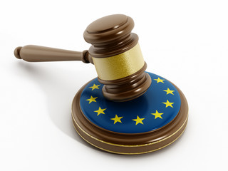 European Union flag on gavel
