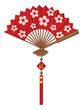 Chinese Fan with Cherry Blossom Flowers Design Vector